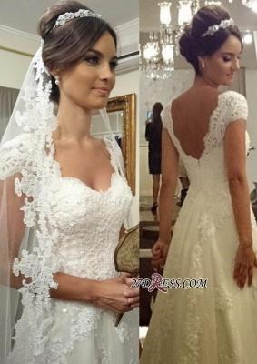 A-line Straps Lace Short-sleeves Modern Zipper Wedding Dress_3