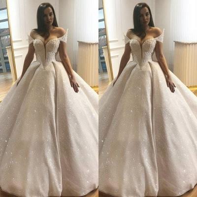 Elegant Cap-Sleeve Wedding Dress   Ball Gown Sequins Bridal Gowns_3