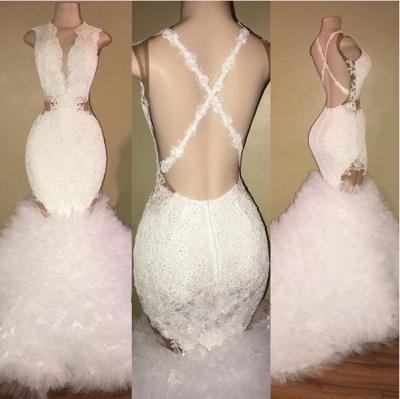 White mermaid lace prom Dress UK, ruffles evening gowns BA8448_3