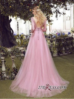 Long Sleeve Pink Evening Tulle   Prom Dress UK With Lace Appliques_4