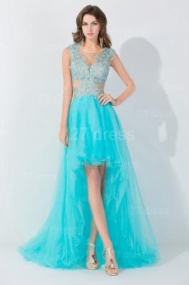 Newest Lace Appliques Hi-Lo Evening Dress UK Sweep Train_3
