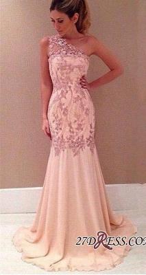 Pink Long Chiffon One-Shoulder Elegant Mermaid Applique Evening Dress UKes UK_2