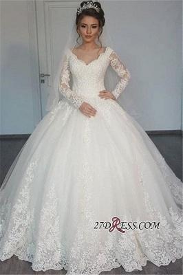 Tulle V-Neck Ball Elegant Lace Long-Sleeves Wedding Dress_2