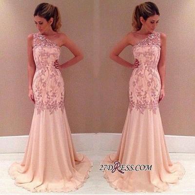 Pink Long Chiffon One-Shoulder Elegant Mermaid Applique Evening Dress UKes UK_1