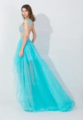 Newest Lace Appliques Hi-Lo Evening Dress UK Sweep Train_2