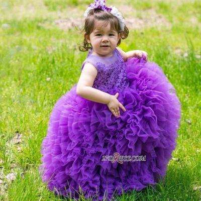 Floor-Length Lovely Lace Purple Ball-Gown Sleeveless Flower-Girl Dress