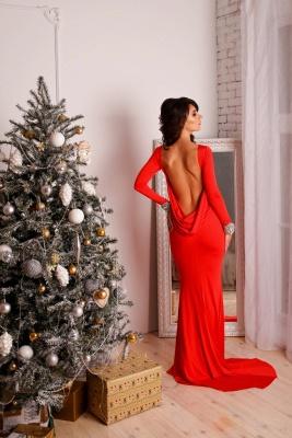 Elegant Red Long Sleeve Prom Dress UK Mermaid Open Back Crystals_3