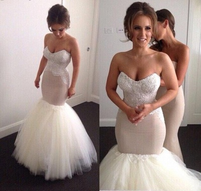 Gorgeous Sweetheart Beadss Wedding Dress Sexy Mermaid Tulle On Sale_3