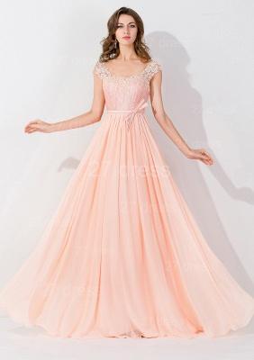 Modern Off-the-shoulder Chiffon Bowknot Evening Dress UK Appliques Floor-length_1