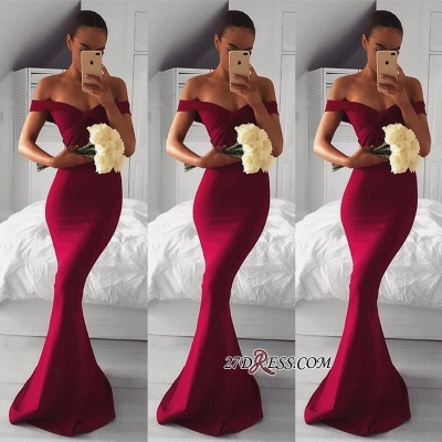 Long Mermaid Modern Red Off-the-shoulder Prom Dress UK BA7551_2
