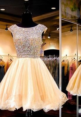 Luxury Crystals Mini Homecoming Dress UK Cap Sleeve Jewel_1