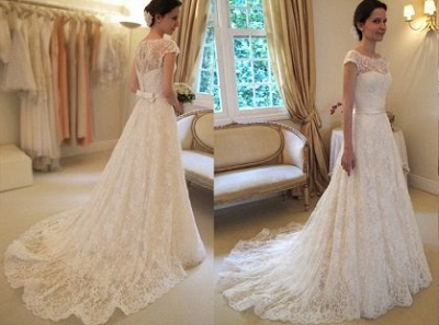 New Arrival Lace A-line Princess Wedding Dresses UK with Cap Sleeves_1