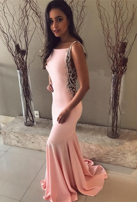 Pink Mermaid Prom Dress UK | Evening Gowns With Beadings BA8929_1