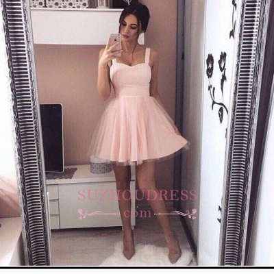 Pink Mini A-Line Straps Sexy Simple Tulle Homecoming Dress UKes UK_1