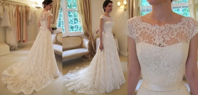 New Arrival Lace A-line Princess Wedding Dresses UK with Cap Sleeves_2