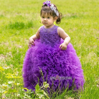 Floor-Length Lovely Lace Purple Ball-Gown Sleeveless Flower-Girl Dress_3