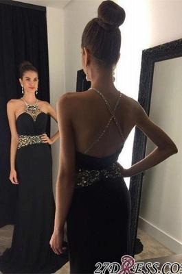 Crystal Sleeveless Jewel Black Newest Prom Dress UK_1