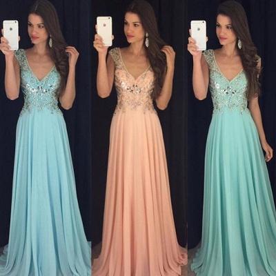 Newest Chiffon A-line V-neck Prom Dress UK Crystals Cap Sleeve AP0_3