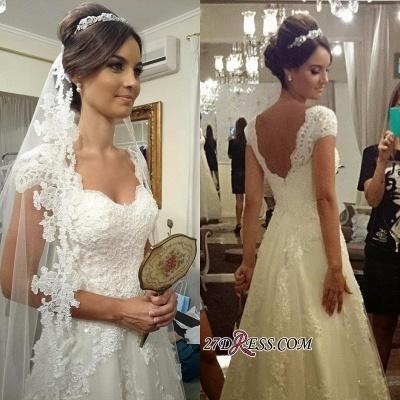 A-line Straps Lace Short-sleeves Modern Zipper Wedding Dress_2