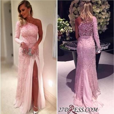 Sexy Pink Lace Long-Sleeve Split Evening Dress UKes UK_1