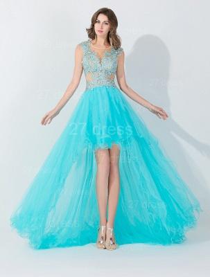 Newest Lace Appliques Hi-Lo Evening Dress UK Sweep Train_1