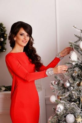 Elegant Red Long Sleeve Prom Dress UK Mermaid Open Back Crystals_2