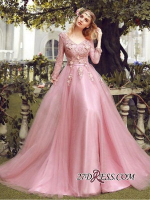 Long Sleeve Pink Evening Tulle   Prom Dress UK With Lace Appliques_5