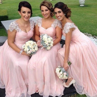 Gorgeous Cap Sleeve A-Line Bridesmaid Dress UK Long Chiffon With Beadings BA2639_3