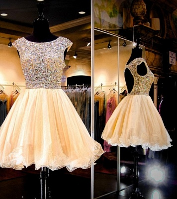 Luxury Crystals Mini Homecoming Dress UK Cap Sleeve Jewel_3