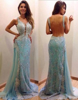 Delicate Lace Appliques A-line Evening Dress UK Mermaid Open Back Straps_2