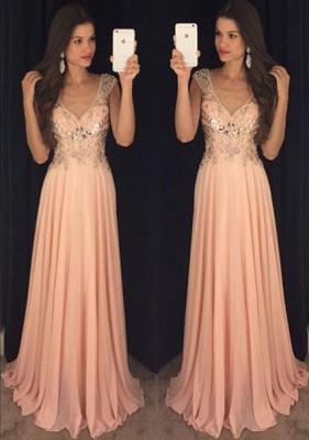 Newest Chiffon A-line V-neck Prom Dress UK Crystals Cap Sleeve AP0_2