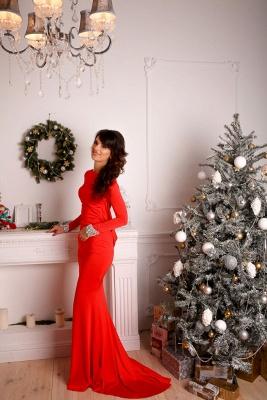 Elegant Red Long Sleeve Prom Dress UK Mermaid Open Back Crystals_4