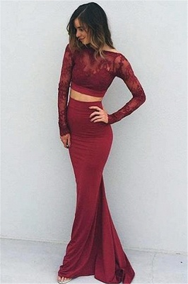 Modern Long Sleeve Two Piece Prom Dress UK Lace Sweep Train BA4306_1