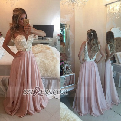 Gorgeous Sweetheart Pearls Beadings Prom Dress UK A-Line Chiffon Long Evening Party Gowns BT0_2