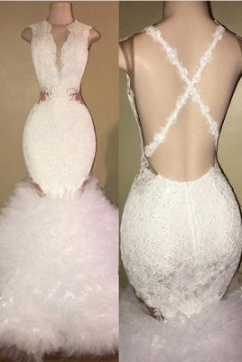 White mermaid lace prom Dress UK, ruffles evening gowns BA8448_1