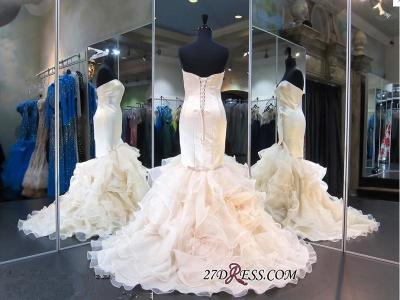 White Sweetheart Sleeveless Ruffles Mermaid Modest Lace-up Evening Dress UK_2