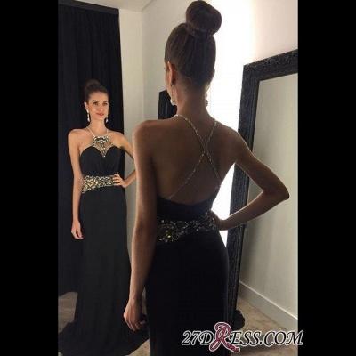Crystal Sleeveless Jewel Black Newest Prom Dress UK_2