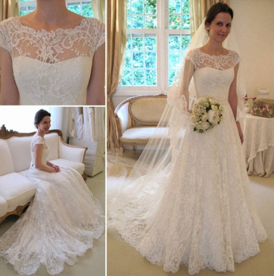 New Arrival Lace A-line Princess Wedding Dresses UK with Cap Sleeves_3