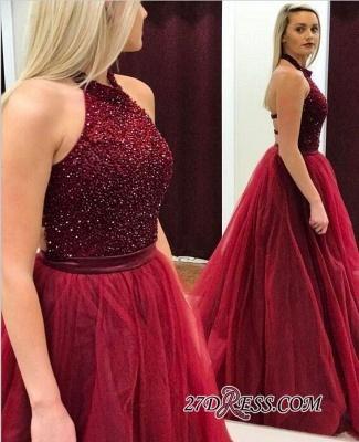 Modest A-line Tulle Halter Sleeveless Beads Prom Dress UK BA7661_1