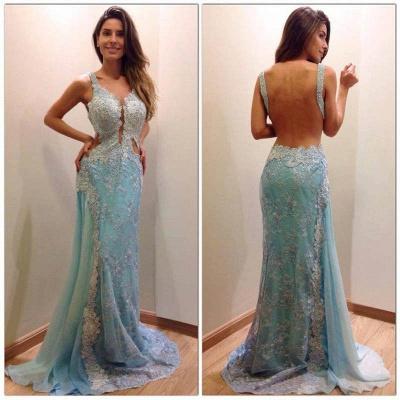 Delicate Lace Appliques A-line Evening Dress UK Mermaid Open Back Straps_3
