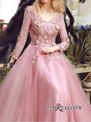 Long Sleeve Pink Evening Tulle   Prom Dress UK With Lace Appliques_2