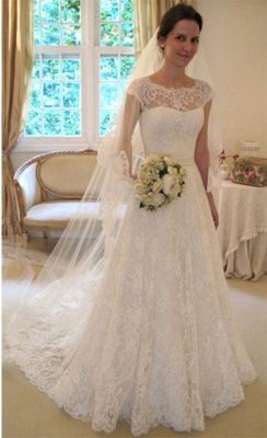 New Arrival Lace A-line Princess Wedding Dresses UK with Cap Sleeves_4