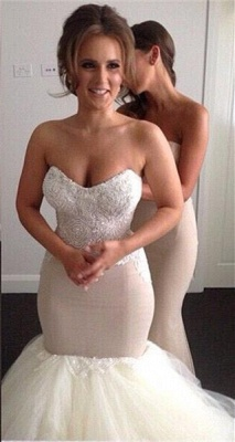 Gorgeous Sweetheart Beadss Wedding Dress Sexy Mermaid Tulle On Sale_1
