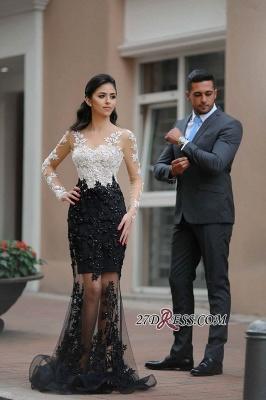 Mermaid White-Black Lace-Appliques Sheer Long-Sleeves Beading Prom Dress UKes UK_2