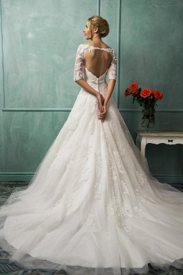 Modern Half-sleeve Tulle Lace Appliques Princess Wedding Dress With Bowknot_2
