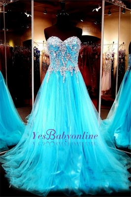 Sweetheart Blue Crystals Tulle Long Luxurious Beaded A-line Evening Dress UKes UK_2