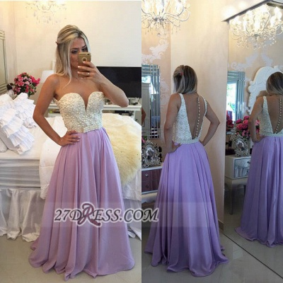 Gorgeous Sweetheart Pearls Beadings Prom Dress UK A-Line Chiffon Long Evening Party Gowns BT0_3