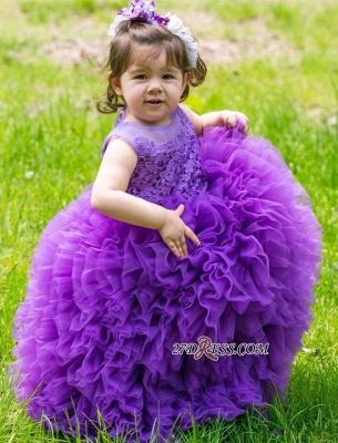 Floor-Length Lovely Lace Purple Ball-Gown Sleeveless Flower-Girl Dress_4