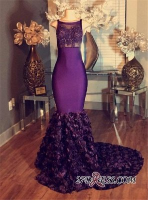 Prom Purple Dress UKes UK Sleeveless Lace-Applique Mermaid Long with Flower-Train_1