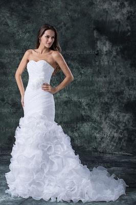 Hot New Wedding Dresses UK Sale Elegent Sweetheart Ruffles Organza Sash Hand Made Flower Beads Sexy Mermaid_4